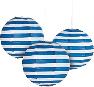 Fun Express - Blue Striped Paper Lantern for Party - Party Decor - Hanging Decor - Lanterns - Party - 6 Pieces