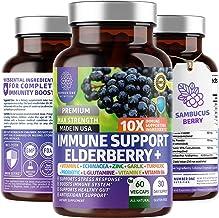 Premium Immune Support Booster, Powerful [10-in-1] Elderberry, Zinc, Vitamin C, E, B6, Echinacea, Garlic, Probiotic & Turm...