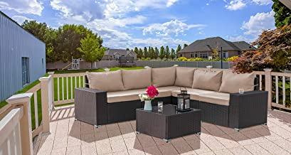 Gotland Outdoor Patio Furniture Set 6 Pieces Sectional Rattan Sofa Set Manual Wicker Patio Conversation Set with A Tempere...