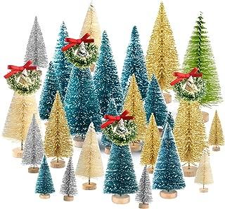 KUUQA 36Pcs Bottle Brush Trees Set, Diorama Trees Mini Sisal Christmas Trees with Christmas Wreaths for Christmas Table Decorations, DIY Room Décor