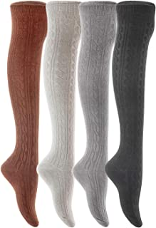 Women's 4 Pairs Adorable Thigh High Cotton Socks LW1024 Size 6-9