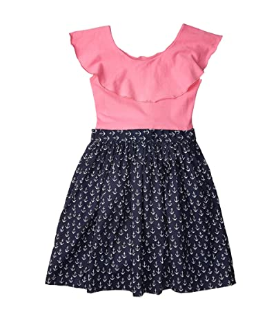 fiveloaves twofish Ruffle Collar Abbie Dress Anchors (Toddler/Little Kids/Big Kids) (Hot Pink) Girl