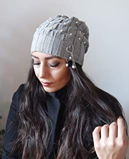 000c25757a44a Grey women winter beanie hat with pearls beaded slouch hat hand knit hat  women wool chunky