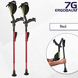 Ergobaum¨ Prime 7TH Generation by Ergoactives. 1 Pair (2 Units) of Ergonomic Forearm Crutches - Adult 5' - 6'6'' Adjustable (Red)