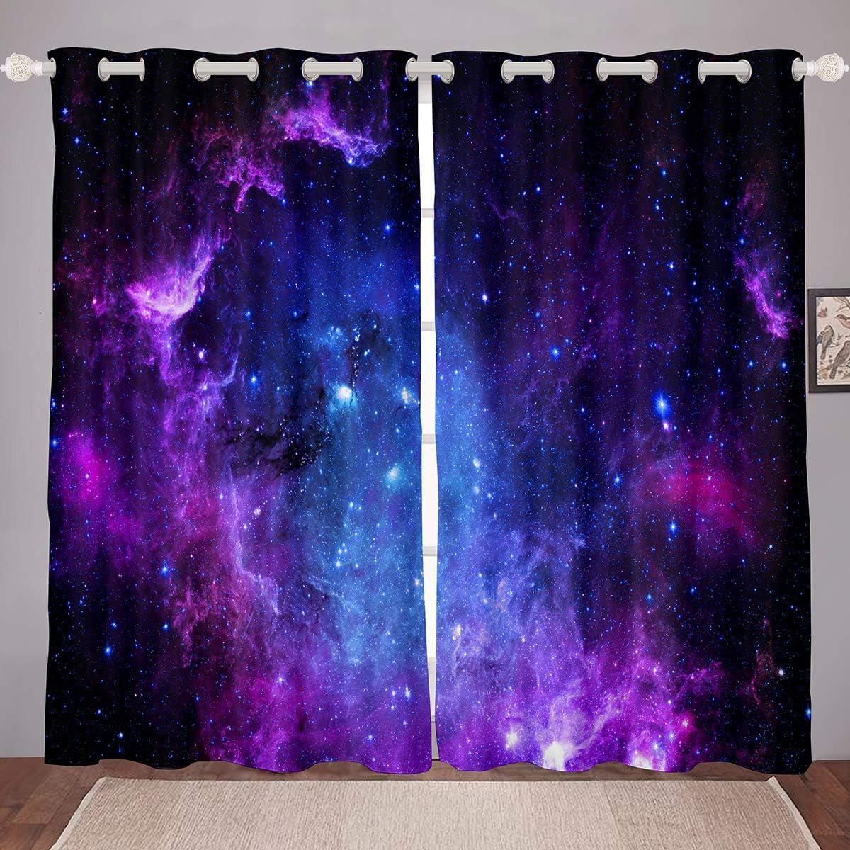 高品質 Galaxy お洒落 WindowCurtain for Kid Girls Boys Decor Sky Starry Room