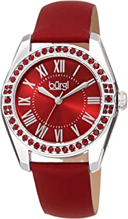 Burgi Women's BUR206 Watch – Swarovski Crystal Studded Bezel – Skinny Genuine Leather Strap with Colored Edges - Classic Roman Numerals On Sunray Dial