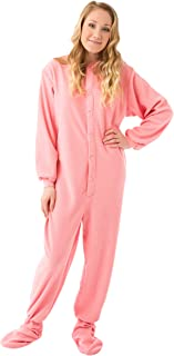 Pink Micro-Polar Fleece Adult Footed Pajamas w/Drop Seat