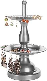 MyGift 2-Tier Fountain Style Earring Hanger & Ring Dish Jewelry Stand Garden Silver
