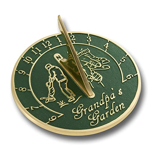 The Metal Foundry Grandpa's Garden English Brass Sundial. New Gift Idea For His Garden Or As An Ornament From Grandson or Granddaughter. Great Present Or Card Alternative