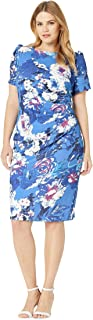 Adrianna Papell Women's Plus Size Floral Elbow Sleeve Side Draped Sheath Dress