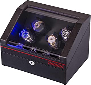 Watch Winder Box for Rolex , 4 Winding Spaces and 4 Storages, in Wood Shell and Black Coffee Color Leather, with 4 Rotation Mode Setting, Built-in Illumination