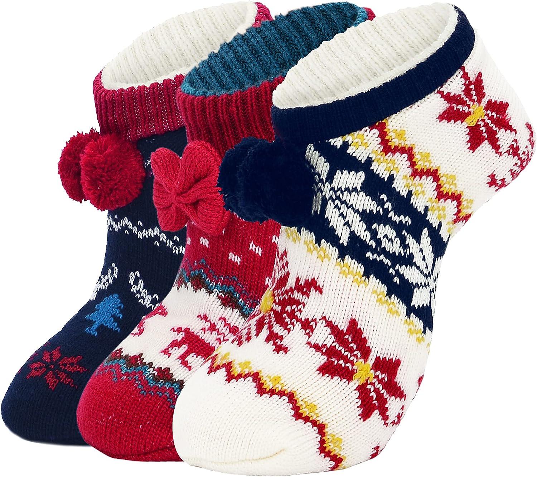 Zando Womens Slippers Socks Non Slip Thick Knit Socks with Grippers Fleece-Lined Socks House Winter Grip Socks Slippers