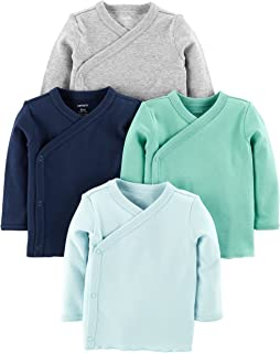 Carter's Baby Boys 4-Pack Cotton Kimono Side-Snap Tees (Blue/Green/Grey, Preemie)