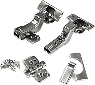 Blum CLIP top BLUMOTION Soft Close Hinges, 110 degree, Self Closing, Frameless, with Mounting Plates and hinge cover plates (Inset - 2 Pack (1 Pair))