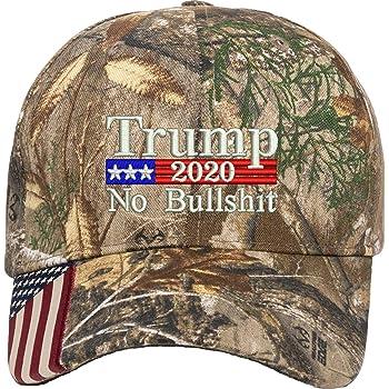 Orange camo Trump 2020 No More Bullshit Adjustable baseball Hat Cap