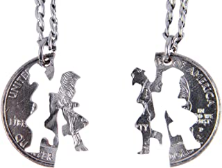 Set Hand Cut Coin MJ Michael Jackson Necklace Interlocking Necklace Jewelry Relationship BFF