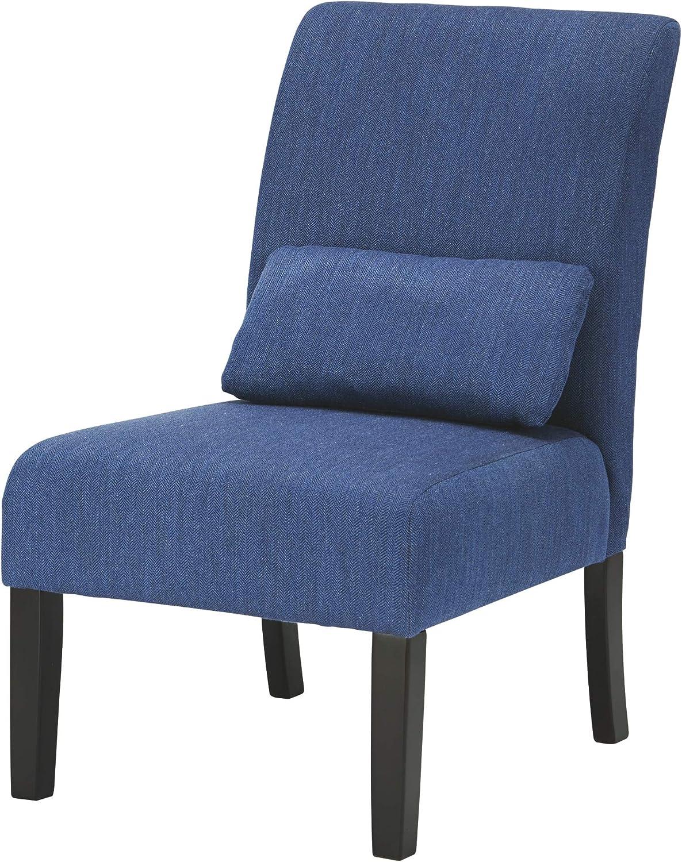 Ashley Furniture Signature Design - Sesto Accent Chair w Pillow - Contemporary - bluee - Black Finish Legs