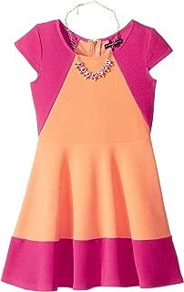 Girls' Big Color Block Skater Dress with Necklace