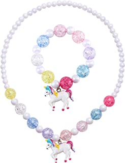 SkyWiseWin Chunky Jewelry Necklace and Bracelet Set for Girls Little Kids