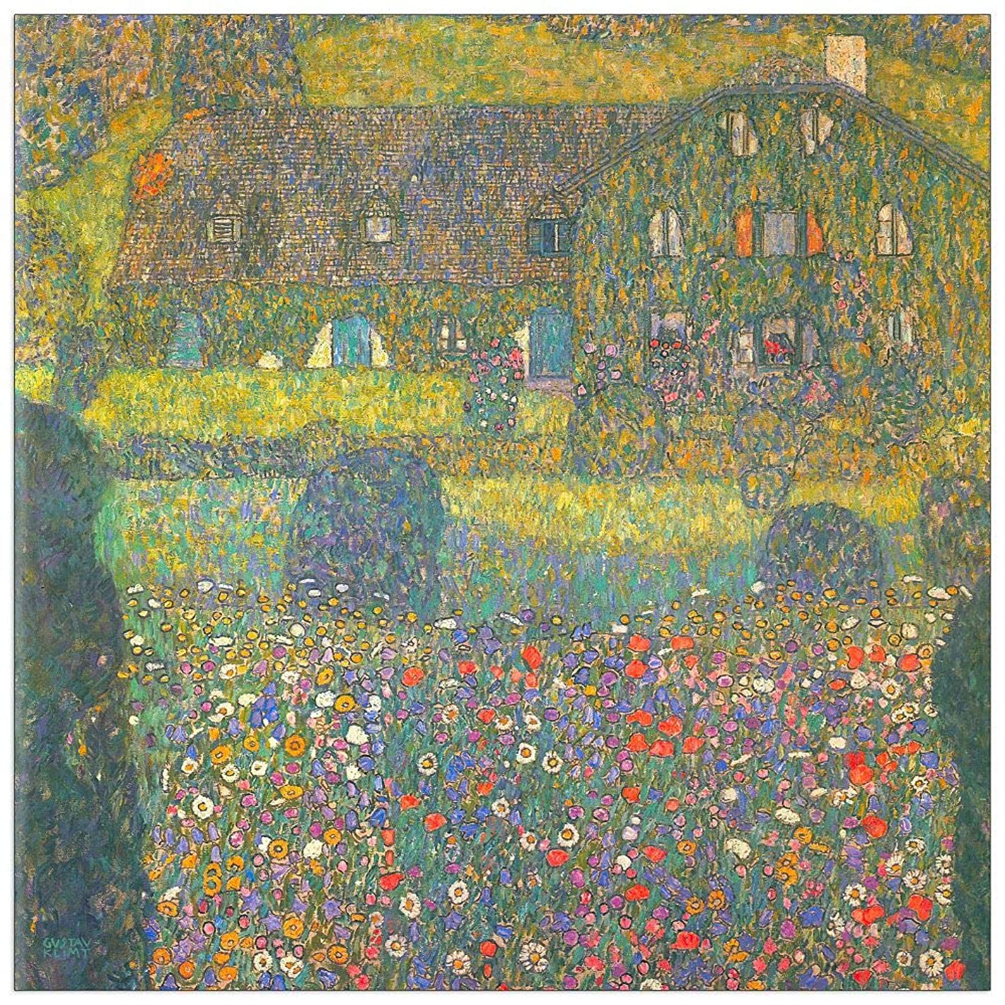 ArtPlaza TW90357 Klimt Gustav - House in Attersee Decorative Panel 23.5x23.5 Inch Multicolored