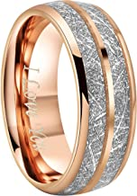 """Crownal 6mm 8mm Tungsten Silver Meteorite Inlay Ring Band Silver/Black/Rose Gold Engraved""""I Love You"""" Size 5 To 17"""