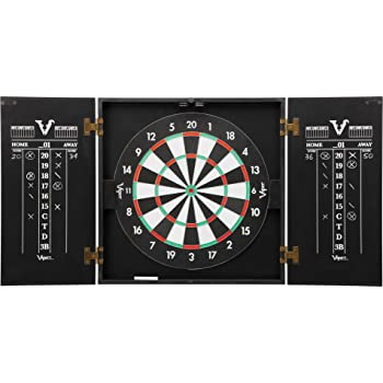 Viper Hideaway Cabinet & Steel-Tip Dartboard Ready-to-Play Bundle, Reversible Standard and Baseball Game Options with Two Sets of Steel-Tip Darts and Chalk Scoreboards, Black Matte Finish