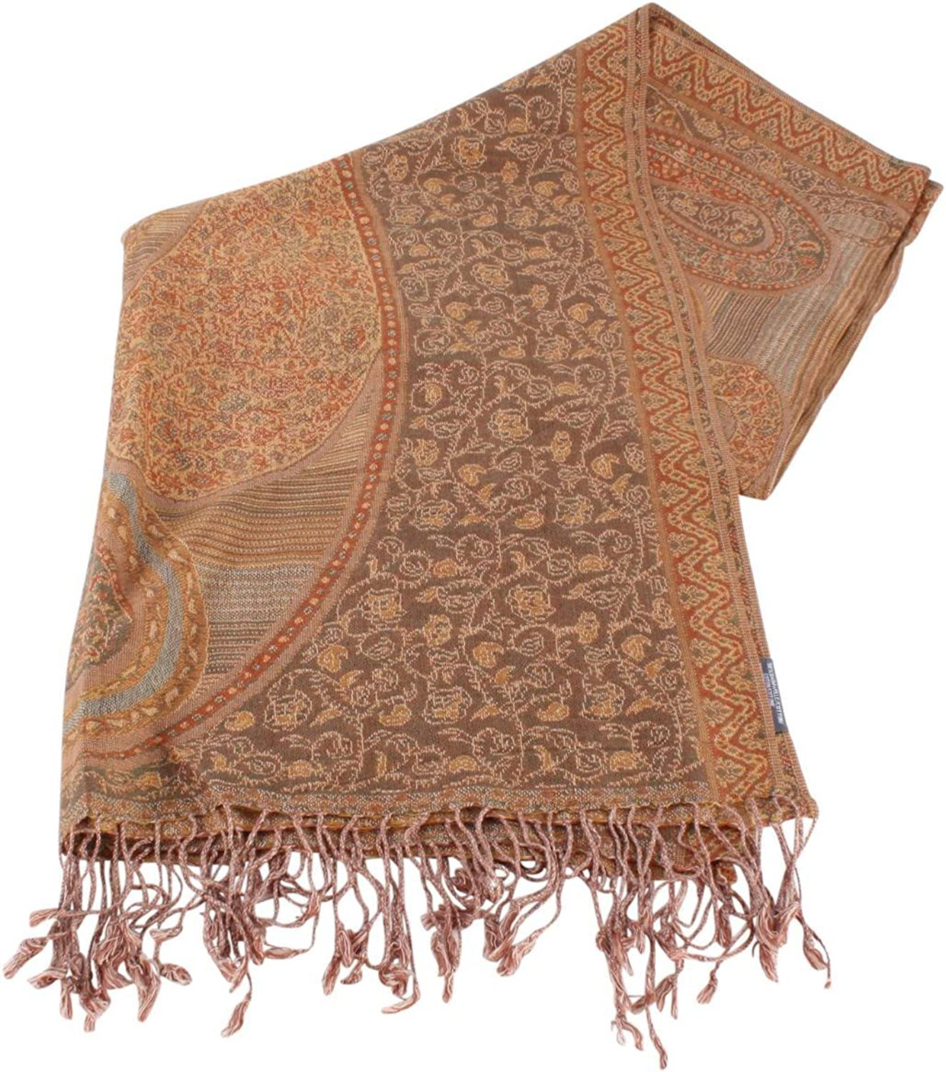 Bassin and Brown Womens Birch Large Paisley Scarf  Beige Brick Camel