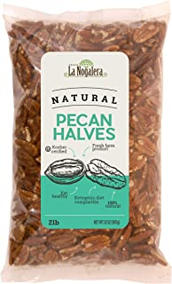 La Nogalera Pecans - Fresh Crop of 2 lbs Natural Halves. Raw pecan nuts that compare to organic, NO SHELL, Non-GMO, No Preservatives, Unpasteurized, Kosher and Halal Certified