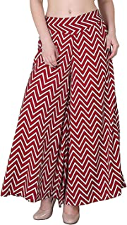 Fablab Women's Poly Crepe Casual Wear Wide Leg Printed Palazzo Trousers with Inner Shorts & Pocket Pack of 1.