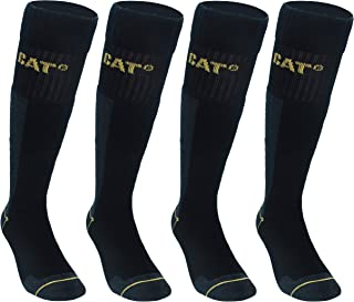 CAT CATERPILLAR 4 pairs Men's Work Long Socks Accident Prevention Reinforced on Heel and Toe with Reinforced Weft Yarn of ...