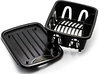Camco Durable Mini Dish Drainer Rack and Tray Perfect for RV Sinks, Marine Sinks, and Compact Kitchen Sinks- Black (43512)