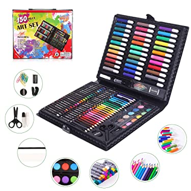 150 PCS Portable Inspiration & Creativity Coloring Art Set Deluxe Painting & Drawing Supplies