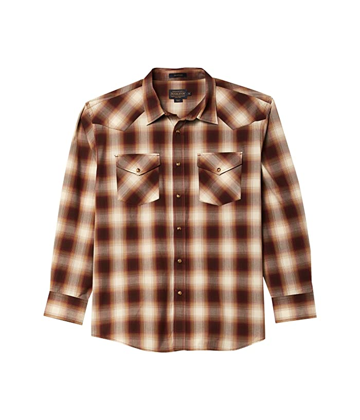 Mens Vintage Shirts – Retro Shirts Pendleton Long Sleeve Frontier TanBrownWine Mens Clothing $52.50 AT vintagedancer.com