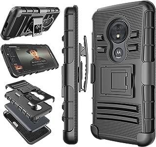 Moto G6 Play Case, 2018 Motorola Moto G6 Forge Holster Clip, Tekcoo [Hoplite] Shock Absorbing [Black] Secure Swivel Locking Belt Defender Heavy Full Body Kickstand Carrying Tank Armor Cases Cover