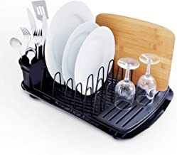 Rubbermaid Food Products Premium Draining Board with Utensil Cup Dish Rack, Black