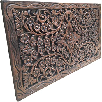"Asiana Home Decor Wood Carved Panel. Decorative Thai Wall Relief Panel Sculpture.Teak Wood Wall Hanging in Dark Brown Finish Size 24""x13.5""x0.5"""