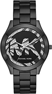 Women's Slim Runway Quartz Watch with Stainless Steel Strap, Black, 20 (Model: MK4562)