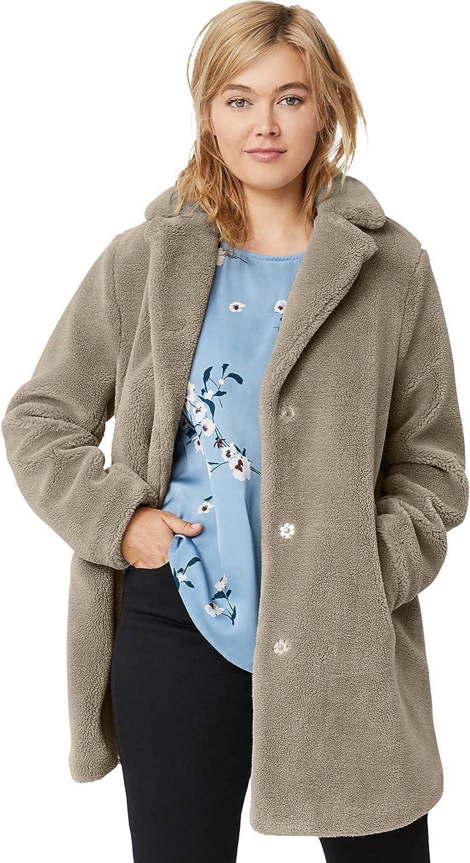 ellos Women's Plus Size Teddy Faux Fur Coat
