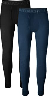 Men's 2 Pack Ultra Soft Winter Warm Base Layer Pants Fleece Lined Thermal Bottoms Long Johns with Fly