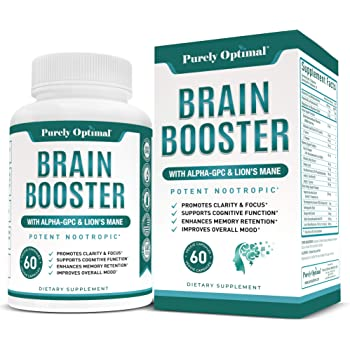 Premium Brain Supplement - Nootropic Brain Booster for Focus, Clarity, Improved Memory, Concentration & Better Mood - Brain Pills w/ Alpha-GPC, Lion's Mane, Ginkgo Biloba & Bacopa Monnieri - 60 caps