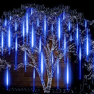 Blue Meteor Lights, EAGWELL Upgrade 20 inches 10 Tube 540 LED Meteor Shower Rain Lights Waterproof Cascading Lights Falling Rain Lights for Holiday Party Wedding Christmas Tree