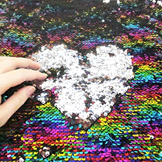 Sequins Sewing Fabric Mermaid Flip Up Sequin Reversible Sparkly Fabric 1 Yard (36'' x 47'') for Dress Clothing Making Home Decor (Rainbow & Silver)