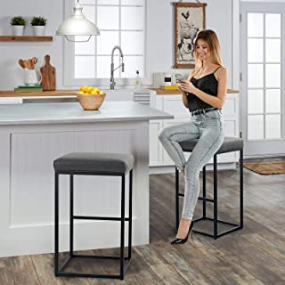 MAISON ARTS Bar Height 30 Inch Bar Stools Set of 2 for Kitchen Counter Backless Industrial Stool Modern Upholstered Barsto...