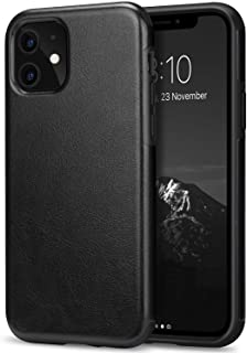TENDLIN Compatible with iPhone 11 Case Premium Leather TPU Hybrid Case (Black)