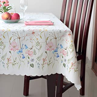 Floral Coloring Rectangle Easter Tablecloth Non-iron Stain Resistant- Table Cover Perfect for Kitchen Dining Room Restaurants Thanksgiving Christmas Dinner New Year (ECRU flowers, Rectangle 60