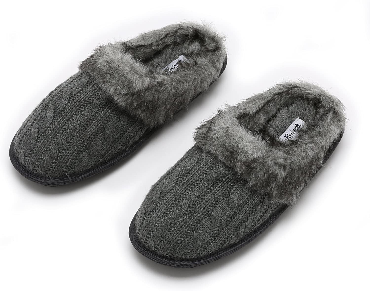 Pembrook Ladies Faux Fur + Cable Knit Slippers - Comfortable Memory Foam Indoor and Outdoor Non-Skid Sole