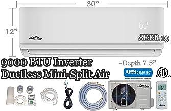 CoVac 9,000 BTU Ductless Mini-Split Air Conditioner – Inverter SEER 19 – Cooling & Heating – Dehumidifier – 120v/60hz - PreCharged Condenser - Ultra Quiet - AHRI - 16 Feet Line Set + Accessories
