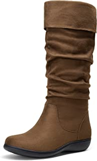 أحذية VEPOSE النسائية عالية الرقبة من الجلد السويدي بتعرجات مسطحة مريحة للنساء