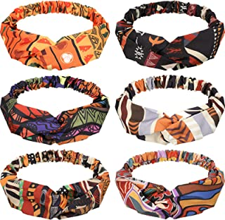 6 Pieces African Headbands Boho Print Headband Twist Knot Elastic Hair Bands Criss Cross Vintage Headband Workout Yoga Sports Hair Accessories for Women Girls