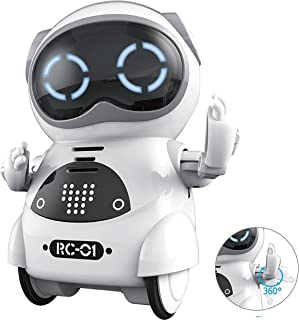 SPACE LION Educational Mini Pocket Robot for Kids Interactive Dialogue Conversation,Voice Control, Chat Record, Singing& Dancing-White …